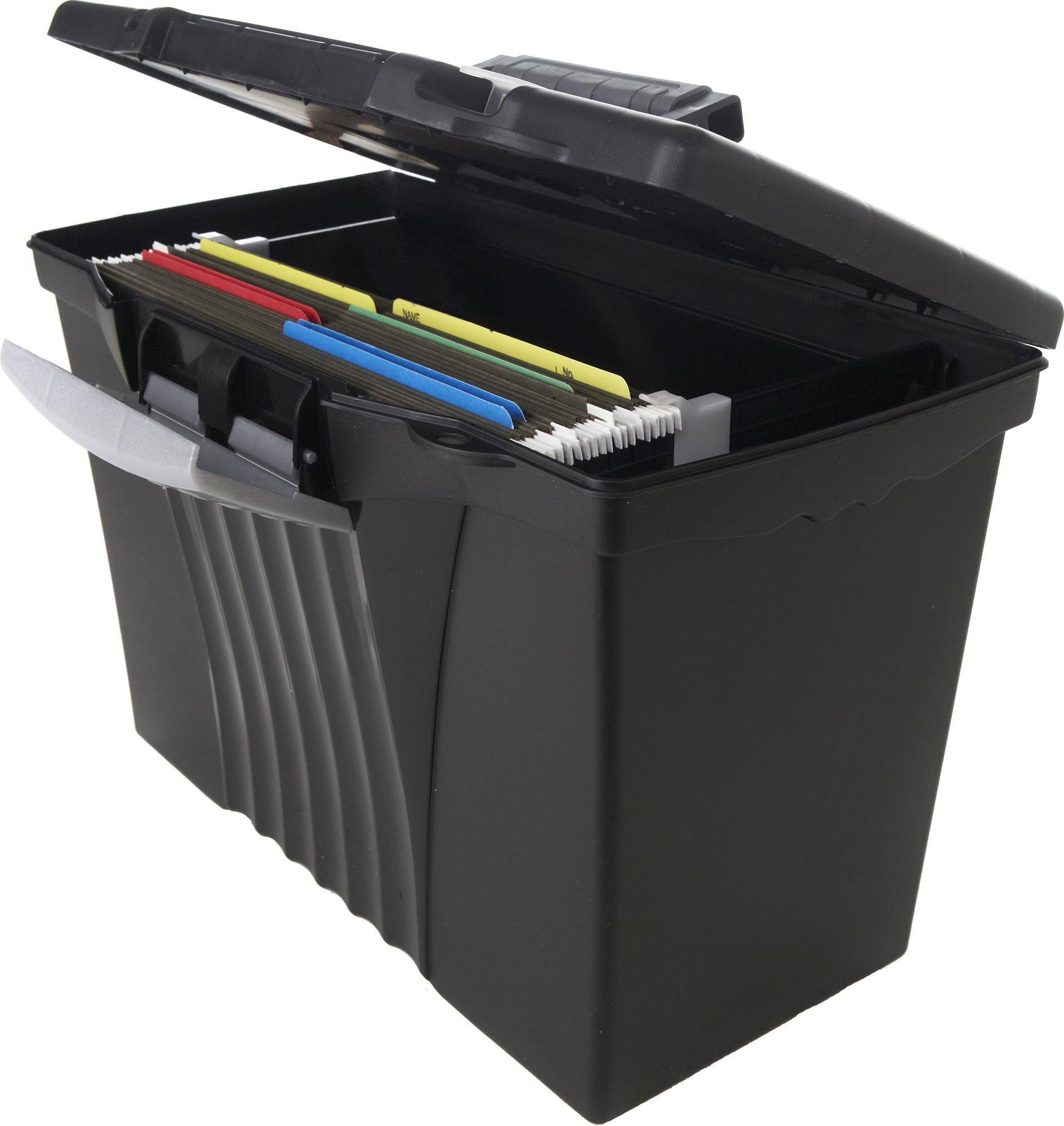 storex letterlegal portable file box with oragnizer lid black boxes stack office file