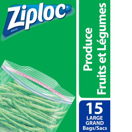 Ziploc 174 Brand Double Zipper Produce Bags Large Walmart Ca
