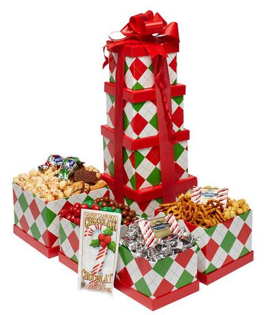 Baskets by On Occasion Plaid Holiday Tower Gift Basket ...