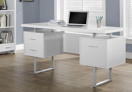 Monarch Specialties Computer Desk White Silver 60 Quot L
