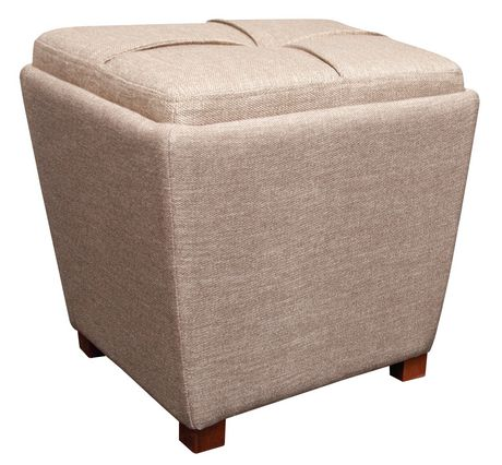 Tapered fabric storage ottoman with tray tan walmartca for Storage ottoman walmart