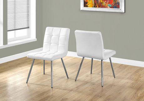 Monarch specialties leather chrome 32 dining chair for White leather and chrome dining chairs