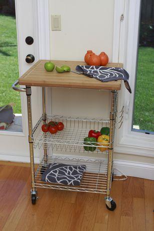TRINITY EcoStorage Bamboo Kitchen Cart Chrome