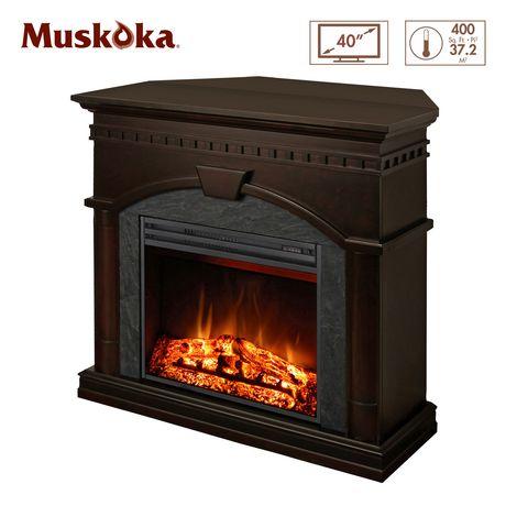 Muskoka 23 Full View Electric Fireplace With Corner Option Burnished Walnut Finish