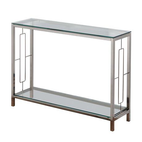Worldwide homefurnishings chrome glass console table - Narrow console table canada ...