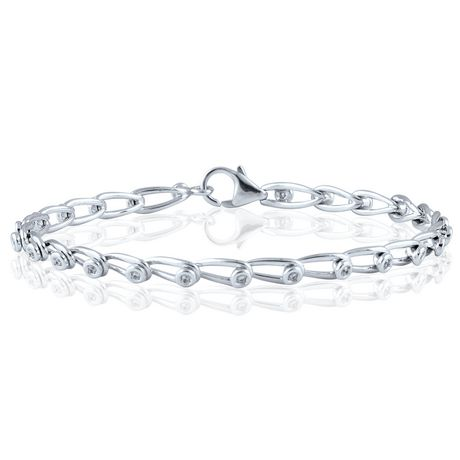 0 14 ct t w link bracelet in sterling silver