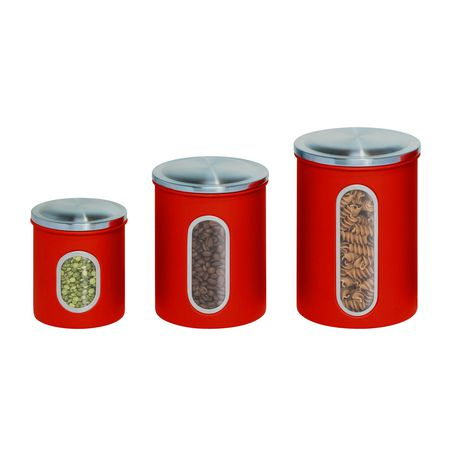 honey can do 3 pack metal storage kitchen canisters