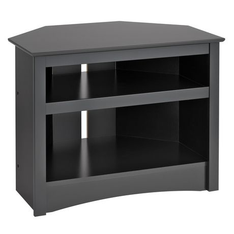 meuble d angle de prepac pour t l viseur en noir. Black Bedroom Furniture Sets. Home Design Ideas