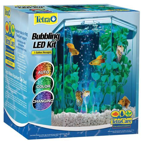 Ens aquarium hexagonal del tetra d 39 1 gallon avec for Fishing kit walmart