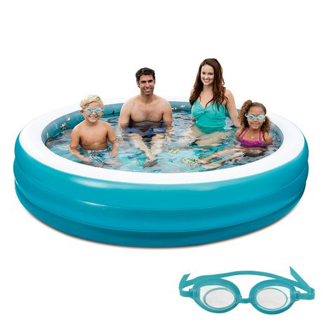 Blue wave 7 5 ft 3d inflatable round family pool for Swimming pool supplies walmart