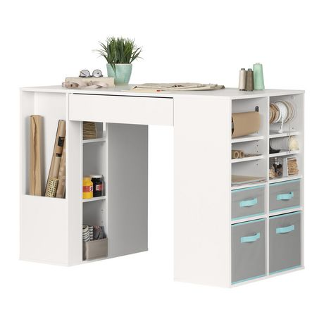 Table de travail haute pour bricolage collection crea de for South shore crea collection craft table white