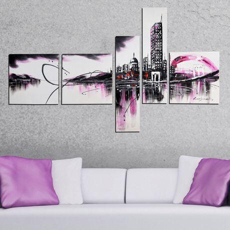 Design art ville mauve moderne peinture sur toile 63 x 33 po 5 panneaux for Peinture sur toile moderne