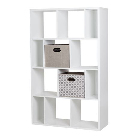 south shore reveal 12 cube shelving unit with 2 fabric storage baskets. Black Bedroom Furniture Sets. Home Design Ideas
