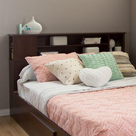 t te de lit biblioth que collection vito de meubles south shore double grand 54 60 po. Black Bedroom Furniture Sets. Home Design Ideas