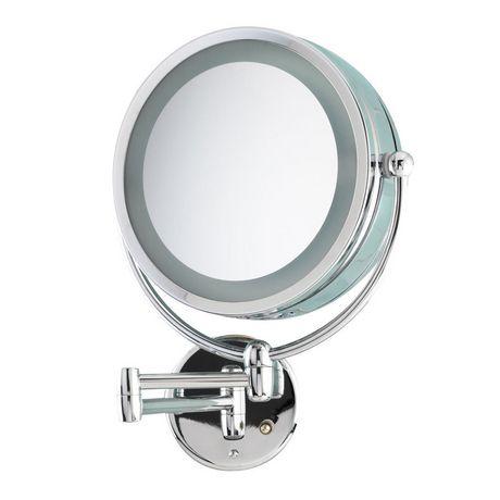 Danielle chrome revolving lit wall mount mirror for Miroir danielle