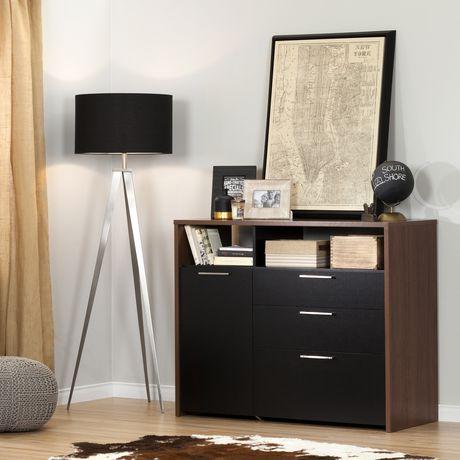 Meuble de rangement avec tiroir classeur en noyer brun et for Meuble bureau rangement classeur
