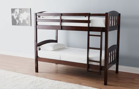 Mainstays Twin Twin Wood Bunk Bed Espresso Walmart Ca