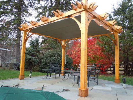 OLT 10 x 10 Cedar Breeze Pergola Kit with Retractable ...