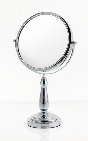 Grand miroir de coiffeuse grossissant sur colonne en for Miroir danielle
