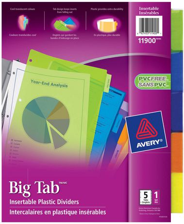 Avery Big Tab Twopocket Insertable Divider Plastic 11 X Oukasfo