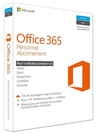 logiciel office 365 personnel de microsoft fran aise. Black Bedroom Furniture Sets. Home Design Ideas