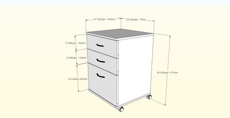 Nexera Essentials 3 Drawer Mobile File Cabinet 5092