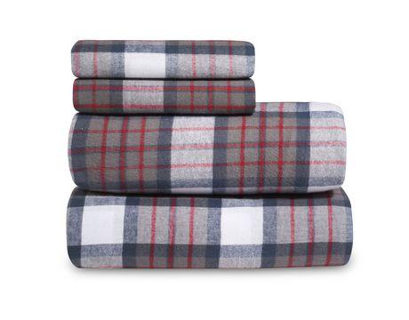 ensemble de draps en flannelle de coton teinte en fil martex. Black Bedroom Furniture Sets. Home Design Ideas