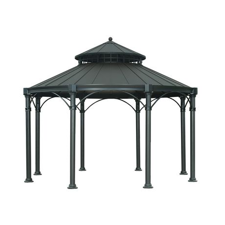 sunjoy tipton round gazebo black top