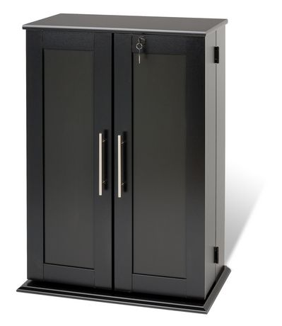 Meuble de rangement multim dia verrouill noir avec portes - Meuble rangement multimedia ...
