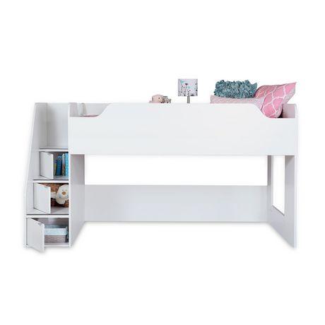 Lit mezzanine avec escalier collection mobby de meubles south shore simple - Lit mezzanine avec marche ...