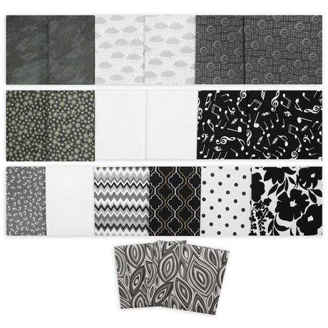 Assortiment de carr s de tissu en coton fat quarter de fabric creations wal - Achat de tissus en ligne canada ...