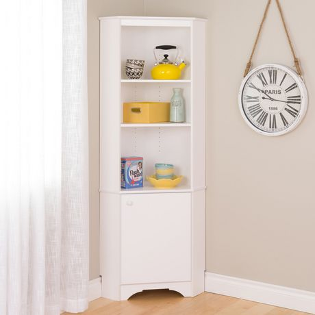 Prepac Elite White Tall 1 Door Corner Storage Cabinet