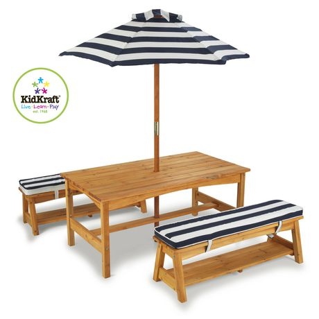Outdoor Table Chair Set W Cushions Navy Stripes