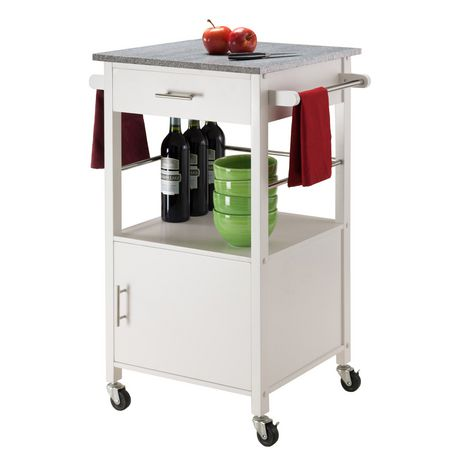 Winsome Davenport Kitchen Cart With Granite Top White 10123