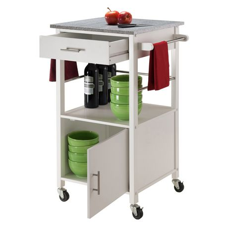 Winsome Davenport Kitchen Cart With Granite Top White
