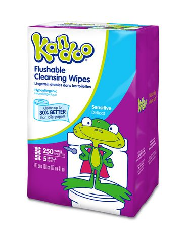 Kandoo Flushable Sensitive Toddler Cleansing Wipes Refill, Count Of 250
