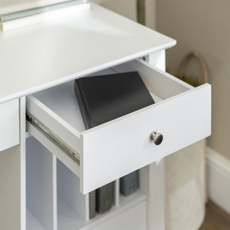 Bureau d 39 ordinateur de luxe we furniture de 142 cm blanc for Bureau d ordinateur
