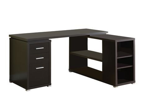 Bureau en coin cappuccino hollow core de monarch walmart for Bureau en coin