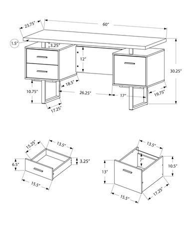 monarch specialties meuble pour ordinateur 60 po l blanc argent. Black Bedroom Furniture Sets. Home Design Ideas