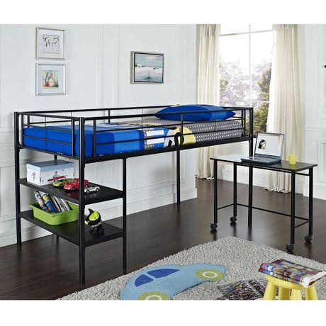 metal loft bed with desk black twin metal loft bed by we furniture