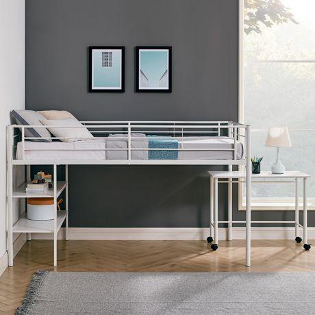 twin metal loft bed with desk white. Black Bedroom Furniture Sets. Home Design Ideas
