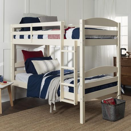 Twin solid wood bunk bed white for Unfinished loft bed