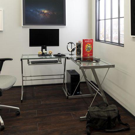 Bureau d 39 ordinateur en coin de verre et de m tal for Meuble bureau walmart