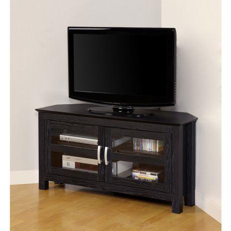 meuble de t l viseur en coin de bois avec portes de verre noir. Black Bedroom Furniture Sets. Home Design Ideas