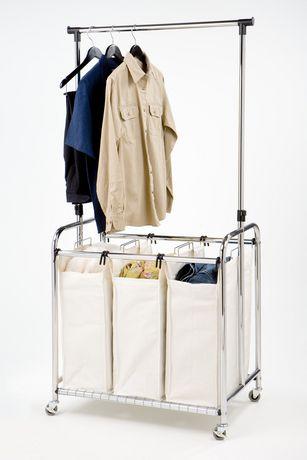 Seville Classics 3 Bag Laundry Sorter W Hanging Bar