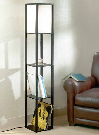 floor lamp with wood shelves. Black Bedroom Furniture Sets. Home Design Ideas