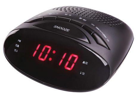 onn compact size digital dual alarm am fm clock radio with. Black Bedroom Furniture Sets. Home Design Ideas