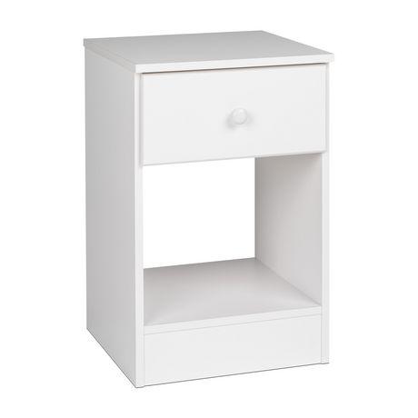 table de chevet haute 1 tiroir astrid de prepac en fini blanc. Black Bedroom Furniture Sets. Home Design Ideas