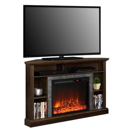 dorel overland electric fireplace corner tv stand. Black Bedroom Furniture Sets. Home Design Ideas