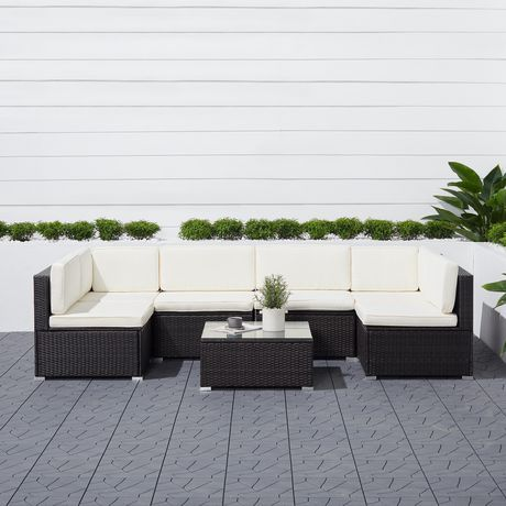 Vifah Venice 6-Piece Classic Outdoor Wicker Sectional Sofa In Black With Seat And Back Cushion Black 84Inl X 40Inw